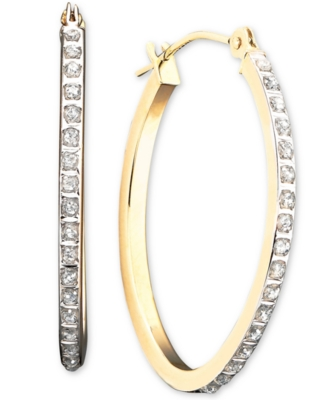 14k Gold Diamond-Accented Oval Hoop Earrings - Diamond Hoops