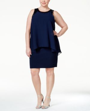 Betsy & Adam Plus Size Sequined Sheath Dress