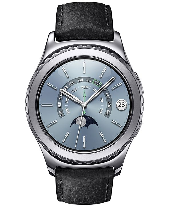 Samsung Unisex Gear S2 Premium Smart Watch with 40mm Platinum-Plated Case & Black Leather Strap SM-R7320WDAXAR