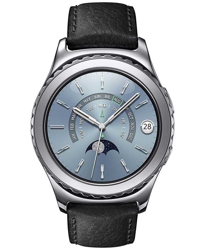Samsung - Gear S2 classic Smart Watch with 40mm Platinum-Plated Case & Black Leather Strap SM-R7320WDAXAR