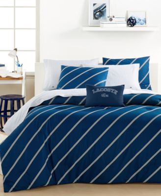 Lacoste College Collection Navy Diagonal Full/Queen Comforter Set