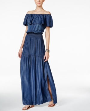 INC International Concepts Off-The-Shoulder Denim Maxi Dress