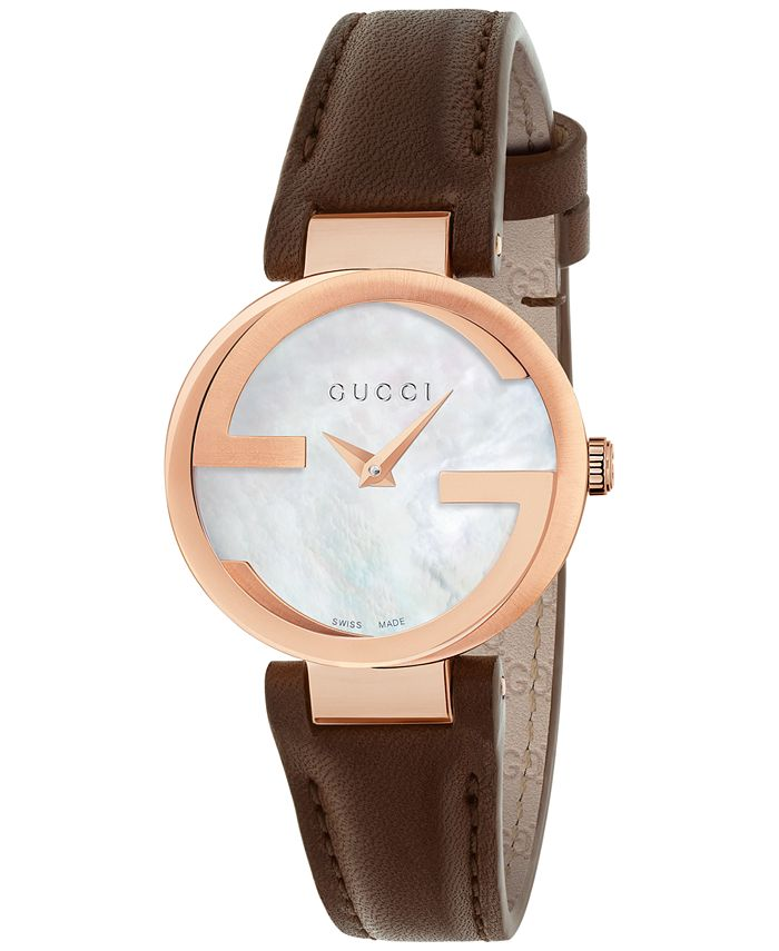 Gucci - Women's Swiss Interlocking Brown Leather Strap Watch 29mm YA133516