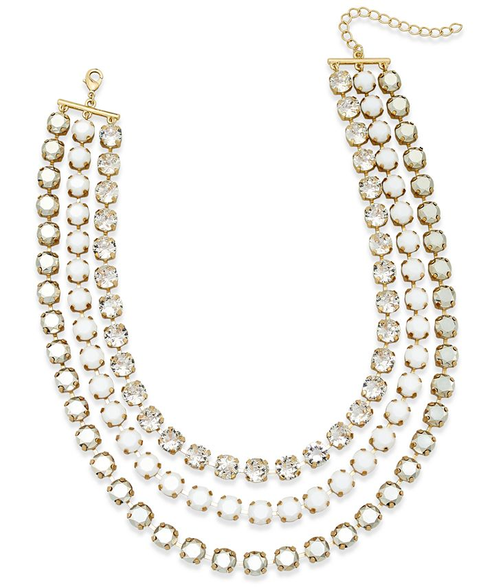 ABS by Allen Schwartz - Gold-Tone Crystal and Stone Layer Necklace