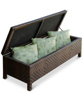 Hartfield Brown Resin Wicker Storage Ottoman, Direct Ship