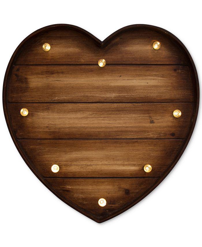 Graham & Brown - Lit Wooden Heart Metal Art