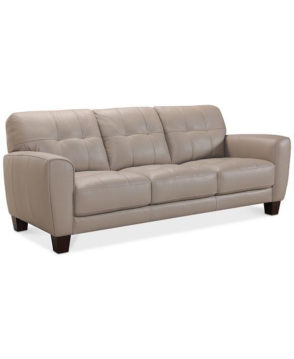 """Furniture Kaleb 84"""" Tufted Leather Sofa, Created for Macy's"""