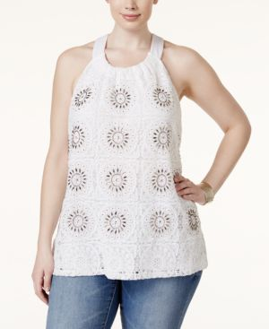 Inc International Concepts Plus Size Crochet-Front Halter Top, Only at Macy's