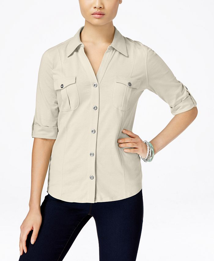 Style & Co - Collared Button-Front Shirt
