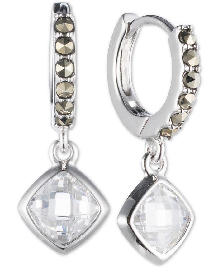 Judith Jack - Sterling Silver Marcasite Hoop Crystal Drop Earrings