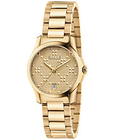 Gucci Women's Swiss G-Timeless Gold-Tone PVD Stainless Steel Bracelet Watch 27mm YA126553