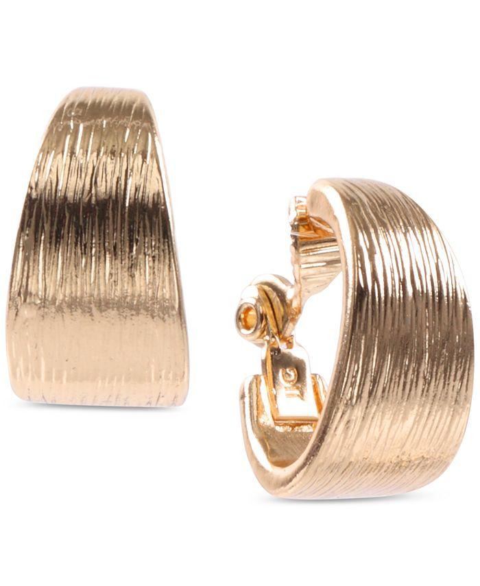 Anne Klein - Gold-Tone Textured Clip-on Hoop Earrings