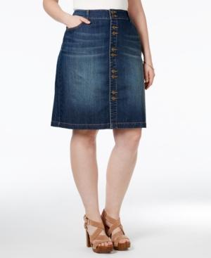 Inc International Concepts Plus Size Button-Front Denim Skirt,  Only at Macy's plus size,  plus size fashion plus size appare