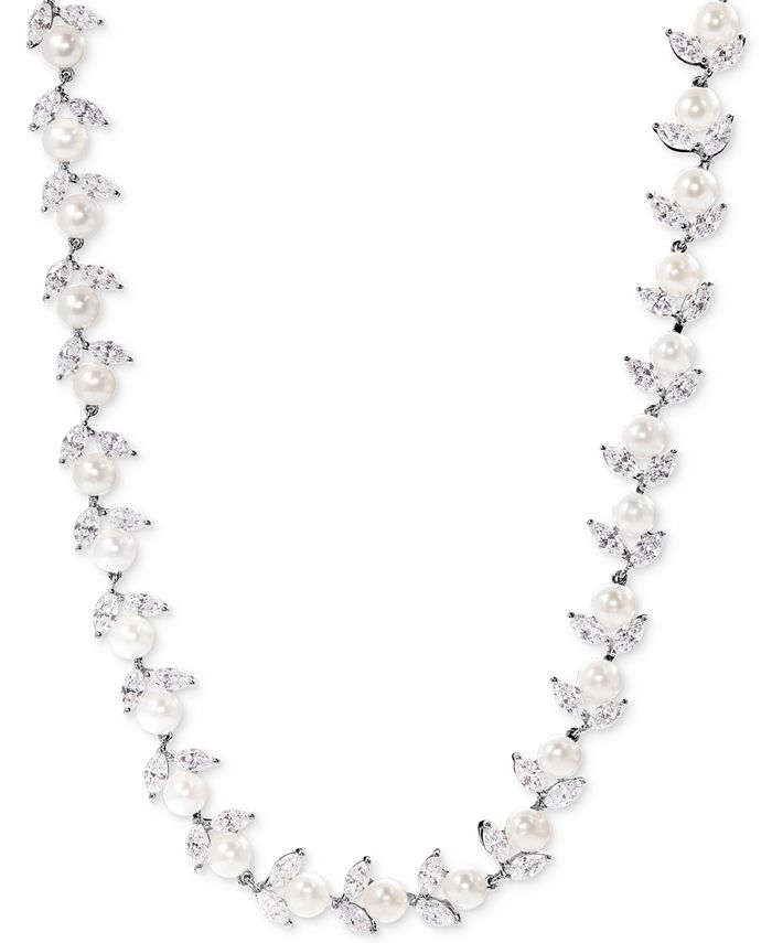 Arabella - Cultured Freshwater Pearl (6mm) and Swarovski Zirconia Collar Necklace in Sterling Silver