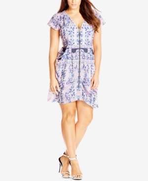 City Chic Plus Size Zip-Front Print Tunic Dress plus size,  plus size fashion plus size appare
