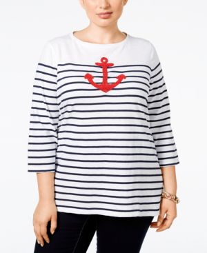 Charter Club Plus Size Striped Anchor Graphic Top, Only at Macy's