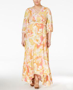 Melissa McCarthy Seven7 Trendy Plus Size Printed Kimono Maxi Dress