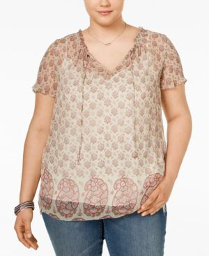 Lucky Brand Trendy Plus Size Paisley-Print Peasant Top
