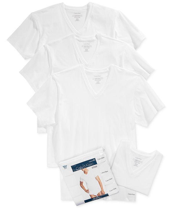 Calvin Klein Men's Cotton Classics V-Neck 3+1 Bonus Pack, Created for Macy's