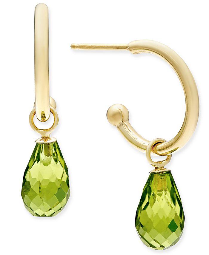 Macy's - Peridot Briolette Hoop Earrings (3-5/8 ct. t.w.) in 14k Gold