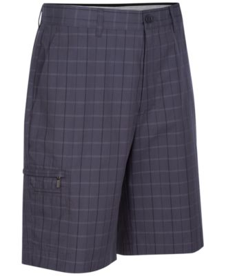 Image of Greg Norman for Tasso Elba Men's 5 Iron Plaid Performance Golf Shorts