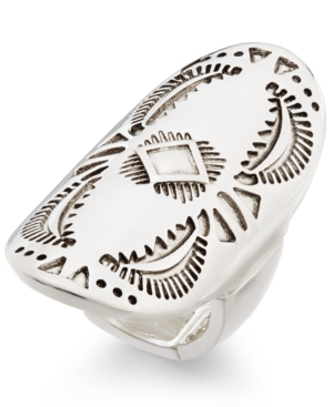 Silver-Tone Large Oval Etched Stretch Ring