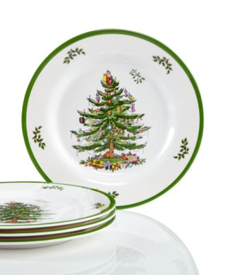 CLOSEOUT! Christmas Tree Melamine Salad Plate, Set of 4