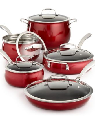 Belgique Red Translucent 11-Pc. Cookware Set, Only at Macy's