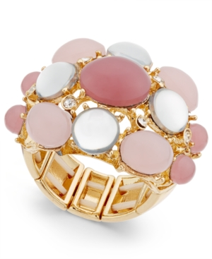 Inc International Concepts Gold-Tone Mauve Stone Bubble Stretch Ring, Only at Macy's