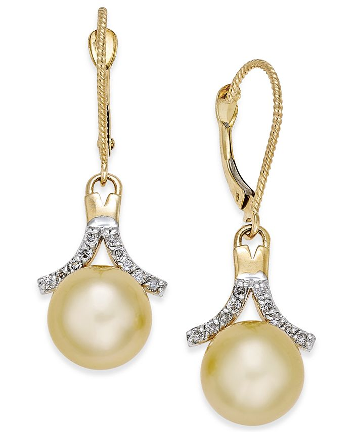 Macy's - Cultured Golden South Sea Pearl (9mm) and Diamond (1/5 ct. t.w.) Drop Earrings in 14k Gold