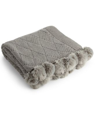 Martha Stewart Collection Basketweave Pom Pom Throw, Only at Macy's