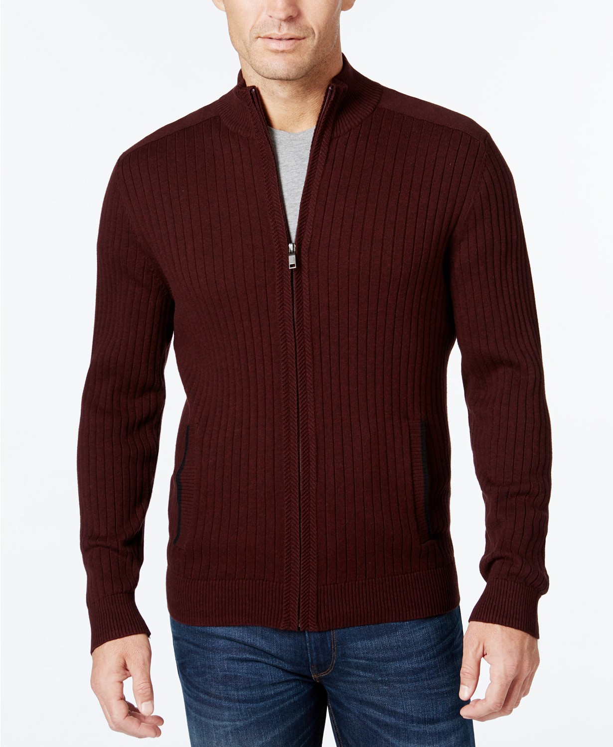 Alfani Men's Ribbed Full-Zip Sweater, Classic Fit, Created for Macy's