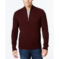 Alfani Men's Ribbed Full-Zip Sweater, Classic Fit