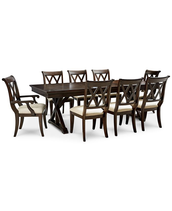 Furniture Baker Street Dining Furniture 9 Pc Set Dining Trestle Table 6 Side Chairs 2 Arm Chairs Reviews Furniture Macy S