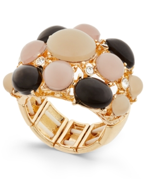 Inc International Concepts Gold-Tone Tri-Color Stone Bubble Stretch Ring, Only at Macy's