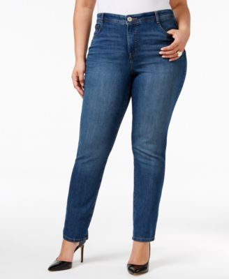 Image of Style & Co. Plus Size Tummy-Control Slim-Leg Jeans, Only at Macy's