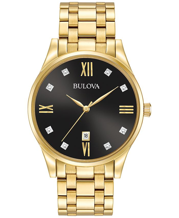Bulova - Men's Dress Diamond Accent Gold-Tone Stainless Steel Bracelet Watch 40mm 97D108