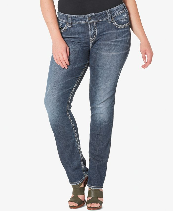 Silver Jeans Co. - Plus Size Suki Medium Wash Straight-Leg Jeans
