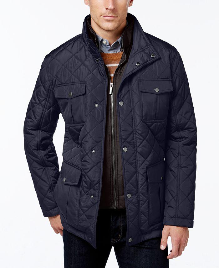 London Fog - Men's Corduroy-Trim Layered Quilted Jacket