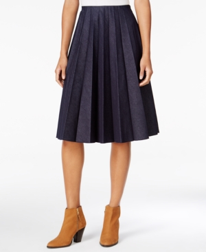 1960s Style Skirts Maison Jules Pleated Denim Skirt Only at Macys $54.99 AT vintagedancer.com