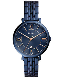 Fossil Women's Jacqueline Blue Stainless Steel Bracelet Watch 36mm ES4094