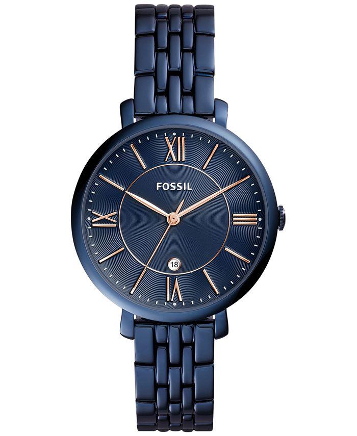 Fossil - Women's Jacqueline Blue Stainless Steel Bracelet Watch 36mm ES4094