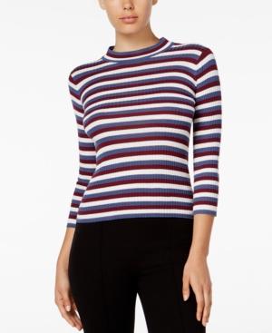 Shop 1960s Style Blouses, Shirts and Tops kensie Striped Mock-Neck Top $14.99 AT vintagedancer.com