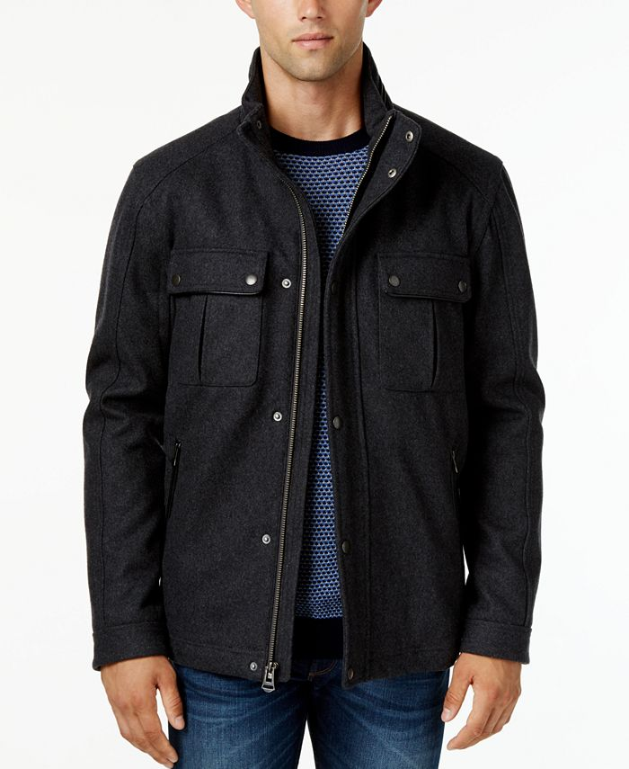 Cole Haan - Faux-Leather-Trim Hooded Coat