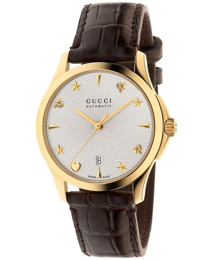 Gucci - Women's Swiss Automatic G Timeless Dark Brown Alligator Leather Strap Watch 38mm YA126470