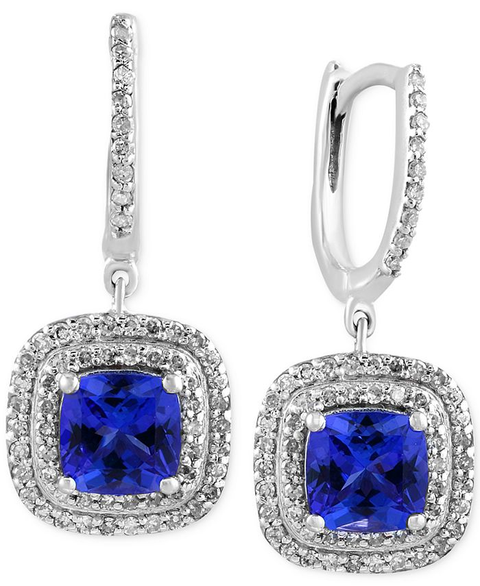EFFY Collection - Tanzanite (1-9/10 ct. t.w.) and Diamond (1/2 ct. t.w.) Drop Earrings in 14k White Gold