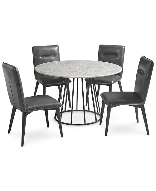 Furniture Callisto Marble Round Dining Set 5 Pc Dining Table 4 Side Chairs Created For Macy S Reviews Furniture Macy S