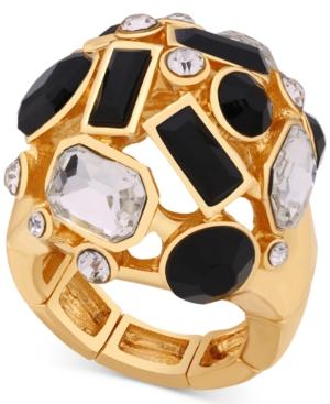 Guess Gold-Tone Multi-Stone Stretch Statement Ring