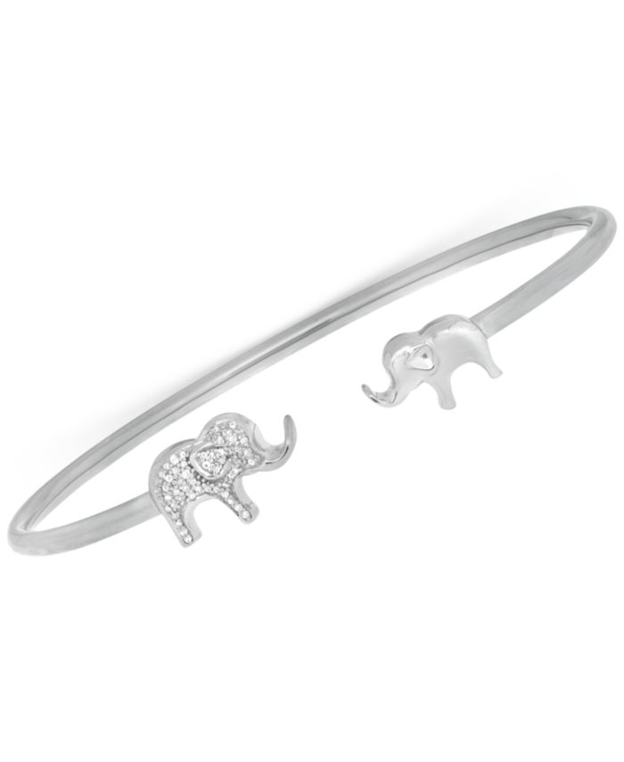 Wrapped Diamond Elephant Open Cuff Bangle Bracelet (1/6 ct. t.w.) in Sterling Silver, Created for Macy's & Reviews - Bracelets - Jewelry & Watches - Macy's