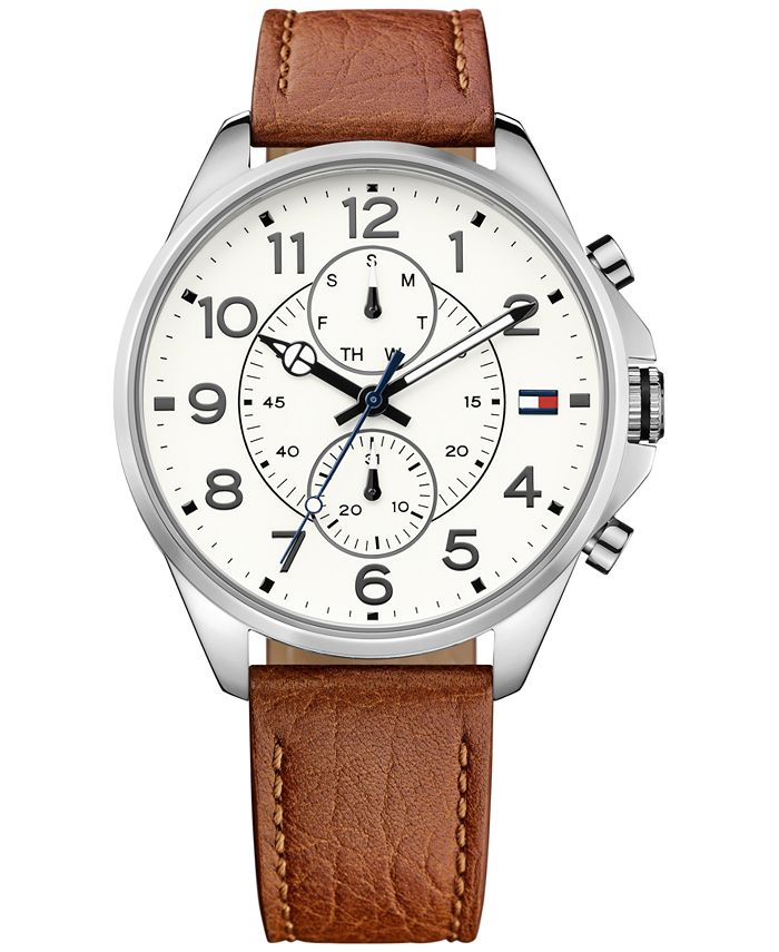 Tommy Hilfiger - Men's Chronograph Casual Sport Brown Leather Strap Watch 46mm 1791274
